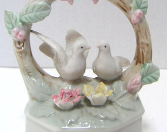 Vintage Music Box, Porcelain,Plays Love Me Tender,Love Birds,Wedding,Anniversary
