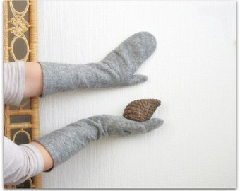 Fir. Silvery gray long mittens, warm and cozy elbow-length winter accessory