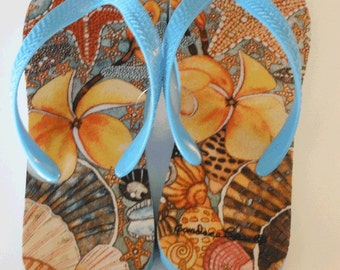 Flip Flops-  ShellShocked Starfish and Shells.  Artwork by Candace Lee.  Made in Hawaii with Aloha