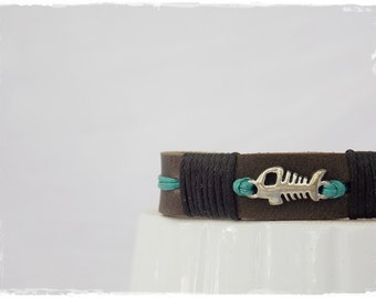 Fish-Bone Bracelet, Fishbone Leather Bracelet, Men's Leather Bracelet, Fish Leather Bracelet, Sea Life Bracelet, Surfer Bracelet For Him