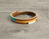 "Leather Wrap Bracelet in Brown with Turquoise & Orange | ""The Bexar Handpainted"""