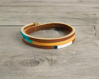 """Leather Wrap Bracelet in Brown with Turquoise & Orange 