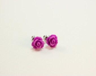 Bright purple rosette earrings - purple roses on titanium studs - NICKEL FREE for sensitive ears