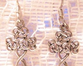 Vintage Celtic Design Sterling Silver Dangle Earrings