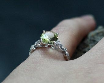 Yellow Sapphire Engagement Ring Rheia & Diamonds Swirl Milgrain Beading Edge Custom Size White-Yellow-Rose Gold-10k-14k-18k-Platinum