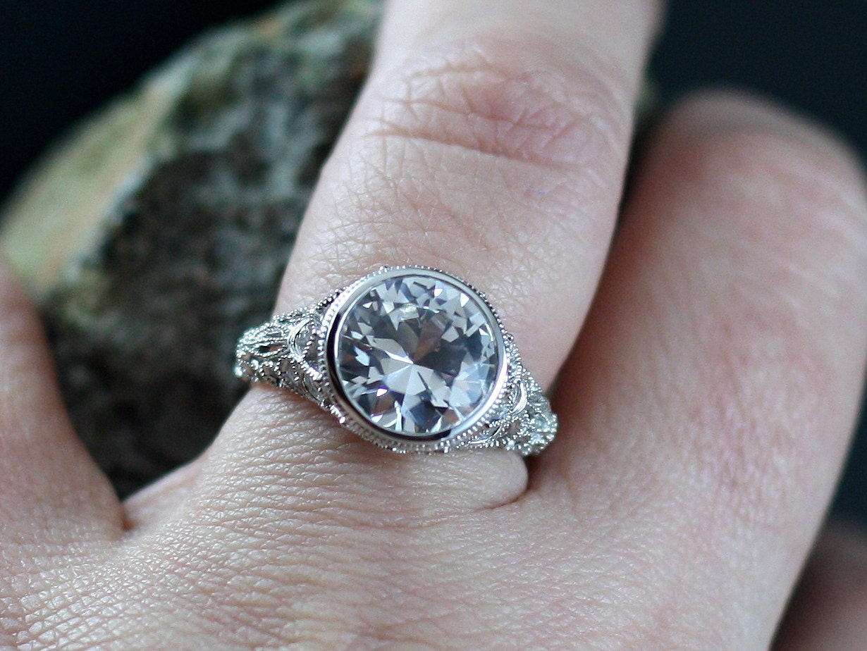 moissanite engagement ring antique style bezel filigree