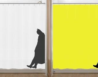 Leaning batman shower curtain bathr oom decor bath kids new yellow