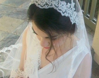 Alencon Lace Mantilla Veil, Fingertip Length Veil in White, Off-White, Ivory, Beaded Lace Wedding Veil -Crystal Veil, Lace Veil Fingertip
