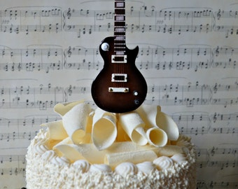 electric-guitar-wedding-birthday-grooms cake-cake topper-musician-guitar birthday cake topper-grooms topper-rock-band-rock and roll-player