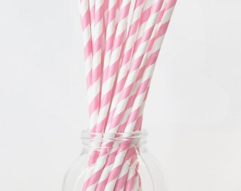 Light Pink Straws Paper Straws Baby Pink and White Pale Pink Party Supplies Pink Stripes Drinking Straws Girls Birthday Party Decorations