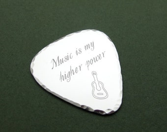 Personalized Guitar Pick in Stainless Steel. Custom Engraved Pick. Music Lovers Gift. Musician Gift. Guitar Player Gift. Plectrum Mens Gift