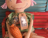 Primitive Raggedy Pink Haired Doll in Easter Print Dress and Prim Carrot Set FAAP HAFAIR OFG