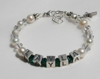 Name Bracelet Birthstone Choice Flower Girl, Baby Bracelet Sparkle Beads and Pearls