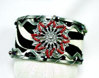 Fun Zebra Print Wide Cuff w beaded embellishments, Red Swarovski & seed beads