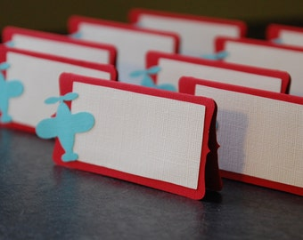 Airplane Food Labels, Place Cards, Airplane Party, Airplane Baby Shower, Airplane Theme, Airplane Birthday,12 Pcs Red Aqua