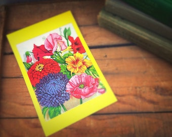 Large SEED PACKET | Mixed Flower Seeds Envelope | Rare Size | Vintage Floral Bouquet Garden Seed Pack | Unused NOS | Shabby Gift Envelope