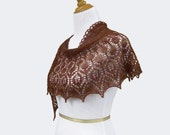 Hand knit lace shawl brown mustard scarf alpaca silk cover up half-circle crescent wrap
