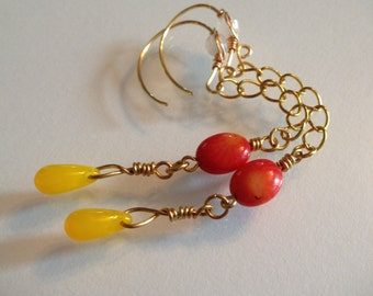 Red Coral and Yellow Glass Drops with Gold Filled Chain Earrings Handmade