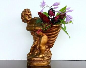 VINTAGE FRENCH VICTORIAN Style Cherub - Angel - Statue - Cornucopia - Gold Brass Color Vase Planter Candle Holder - Universal Corp Statuary