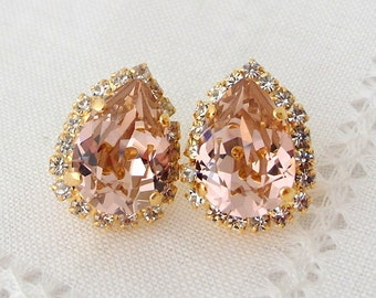 Blush stud earrings,blush pink earrings,Bluh pink bridesmaids earrings,Blush Bridal earrings, Swarovski helo crystal studs,Gold or silver