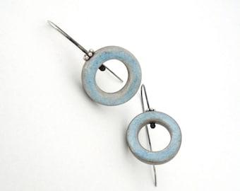 Sky blue hoop clay earrings grey, sterling silver, air dry clay jewelry geometric, faux ceramic earrings, modern circle, organic shabby chic