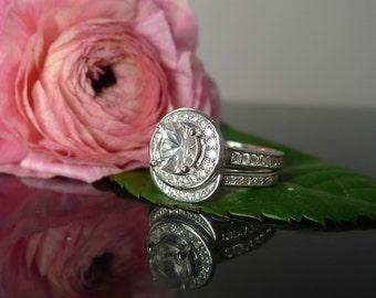 Herkimer Diamond Engagement Ring Sterling Silver Matching Wedding Band