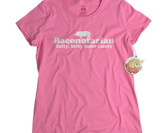 Womens bacon tshirt funny foodie bacon lovers cute pink t shirt for women meat candy shirt kitchen cook meat lover tee ladies girls teens