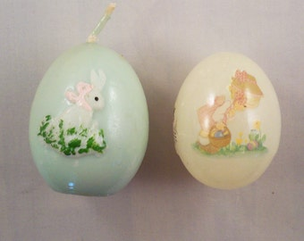 ADDITIONAL 10% OFF...SALE  2 Vintage Easter Eggs Candle and Precious Moments Alabaster Egg Dated