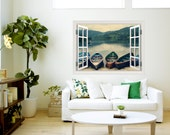 Canvas Gallery Wrap Window Frame trompe l'oeil travel photography boats lake moody grey blue green home decor large wall art