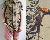 "10% Sale Code ""MAY10"" - Vintage Mens Olive Green Parrot Bird Print Shirt M or L"