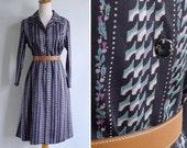 50% OFF - Vintage 70's Steel Blue Floral Stripe Op Art Polyester Shirt Dress S or M