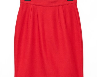 80s Red pencil skirt