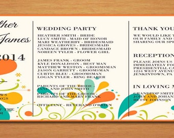 Summer Floral Swirl Wedding Program PRINTABLE / DIY