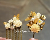 Wedding Hair Pin Set Bridal Hair Accessories Gold White Floral Hair Comb Vintage Style Grecian Leaf The Great Gatsby Film Noir Statement JW