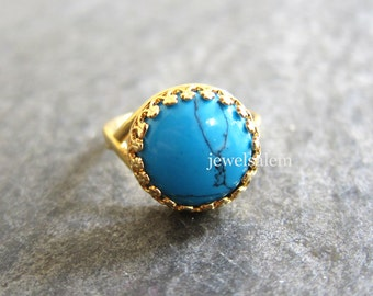 Turquoise Ring Adjustable Gold Gemstone Ring Silver Blue Stone Ring Exotic Victorian Modern Rustic Statement Ring Bohemian Gift