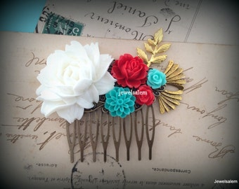 White Wedding Hair Comb Red Turquoise Teal Bridal Headpiece Gold Aqua Collage Flower Floral Leaf Branch Vintage Style Romantic Bohemian WR