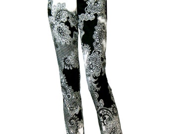 Black and White Flowered Pants, High Waisted Pants, Straight Trousers, Cotton Pants, Designers Pants, Zipper Pants