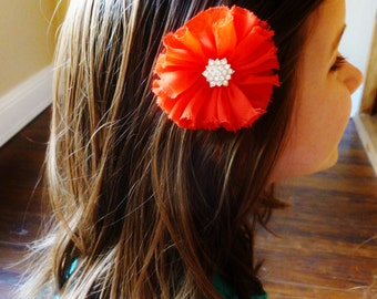 red chiffon hair flower with vintage rhinestone-flower girl hair accessorie- preppy clip by bows for show