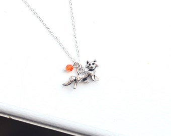 Fox Necklace- Birthstone Colors- 925 Sterling Silver Chain- Charm Jewelry Crystal- Hunter - Orange - Animal Lover - Woodland - Farm