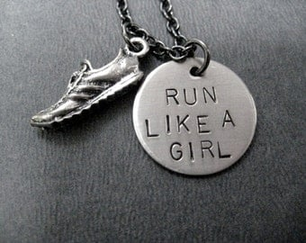 RUN LIKE A GIRL Round Pendant with Running Shoe - Running Necklace - Running Jewelry - Hand stamped with Gunmetal chain - Running Girl - Run