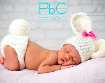 Bunny Newborn Set- Photo Prop, bunny photo prop, rabbit set, baby rabbit, easter bunny prop, baby easter bunny, newborn bunny costume