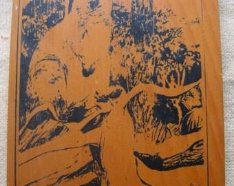 Vintage Huon Pine Kangaroo Plaque, by N. Lazenby