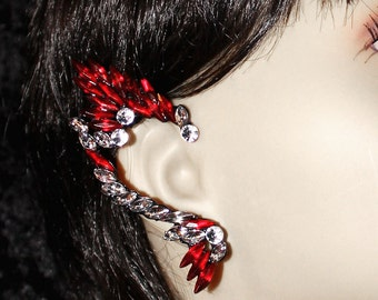 Beautiful Red & Clear Crystal Earring Cuff