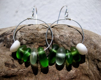 Hawaiian Emerald Green & Aqua Blue Beach Glass with Puka Shells on 925 Sterling Silver Circular Wire Small Circular Hoop Earrings