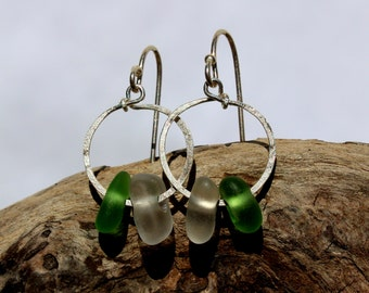 Hawaiian Small Emerald Green Beach Glass & Clear Beach Glass on Hammered 925 Sterling Silver Circular Wire Small Hoop Earrings