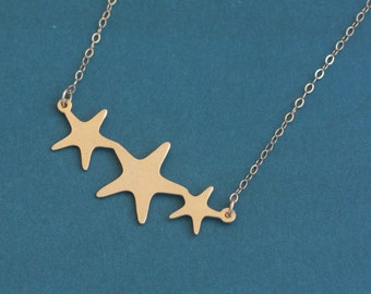 Gold Three Stars Necklace , Trio Star Charm , Three Children , Mother of Three Gift , Everyday Necklace ,Simple Gold Necklace ,Stars Jewelry