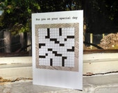 Crossword Puzzle Birthday Card - Newspaper