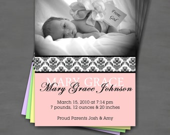 Baby Girl Photo Birth Announcement; Black Damask with Color Options