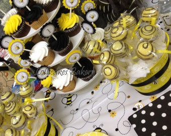 Bumble Bee Birthday Cake Pops: Bumble Bee Party Cake Pops Made to Order with High Quality Ingredients, 1 dozen