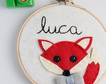 Fox Wall Art, Red Fox, Boy Nursery Decor, Personalized Hoop Art,  Felt Hoop Art, Felt Bowtie, Woodland Nursery Decor, Boy Fox, Boy Name Sign